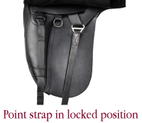 Dressage Girthing Point strap in locked position